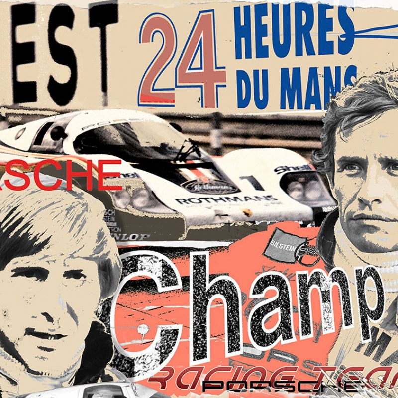 burkhard lohren – racing legends – jacky ickx and dreek bell -70 x 100 cm -2016