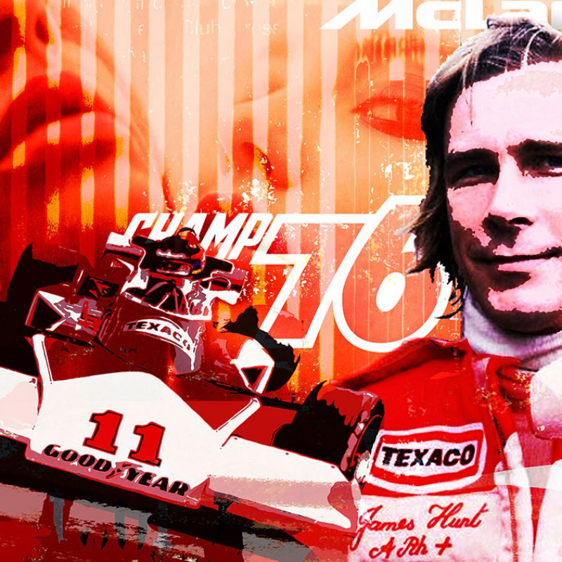 burkhard lohren – racing legends – james hunt champ 76 – 70 x 100 cm -2016