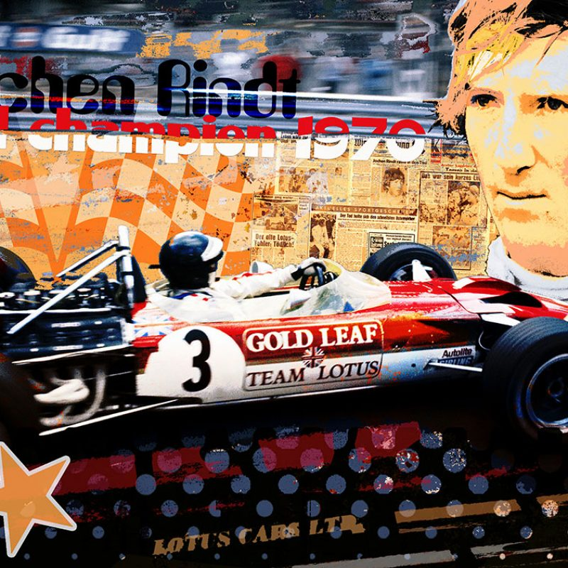 burkhard lohren – racing legends – jochen rindt champion 1970 – 70 x 100 cm -2016