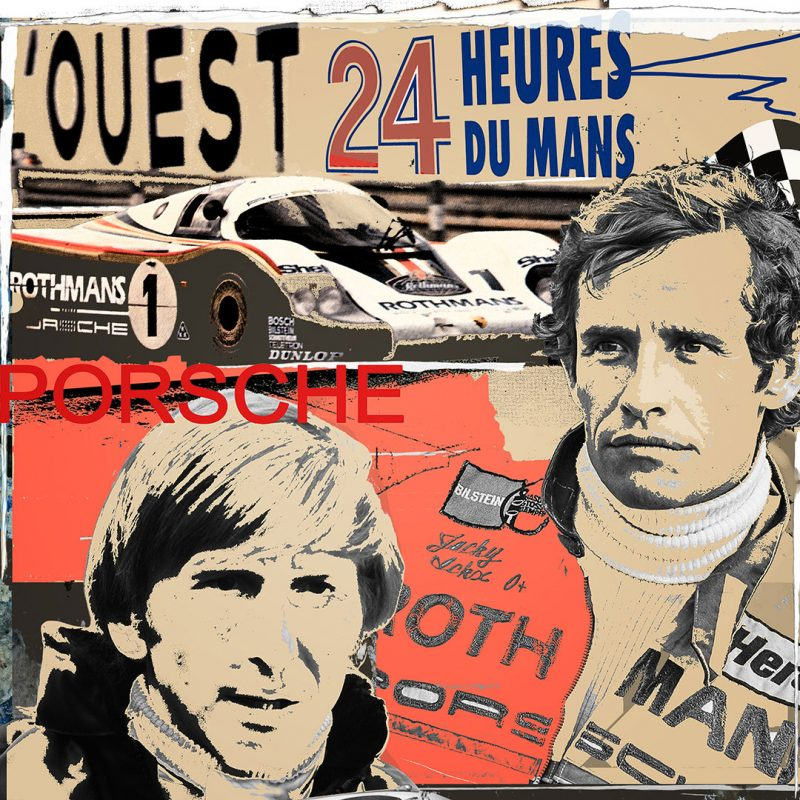 burkhard lohren – racing legends – porsche racing derek bell and jacky Ickx – 100 x 100 cm – 2016