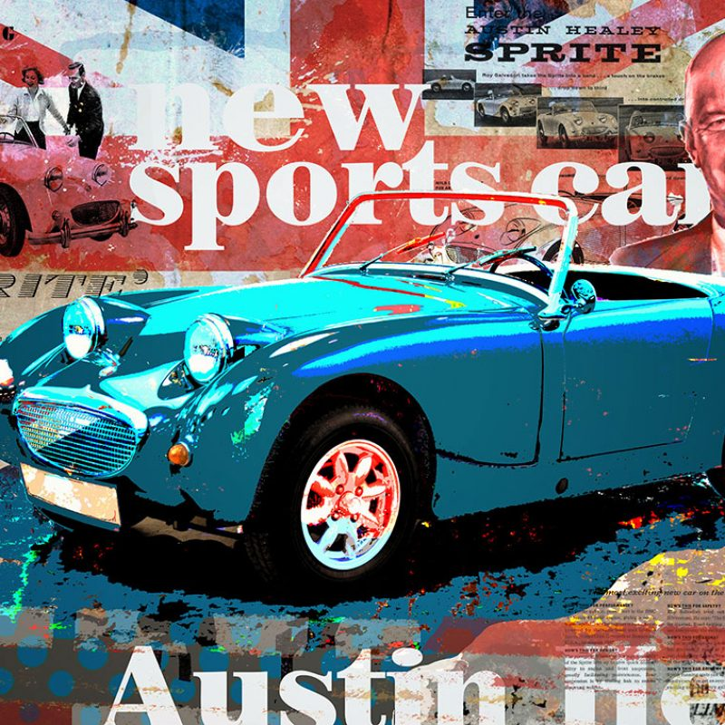 burkhard lohren – dream cars – austin healey sprite- 70 x 100 cm – 2016
