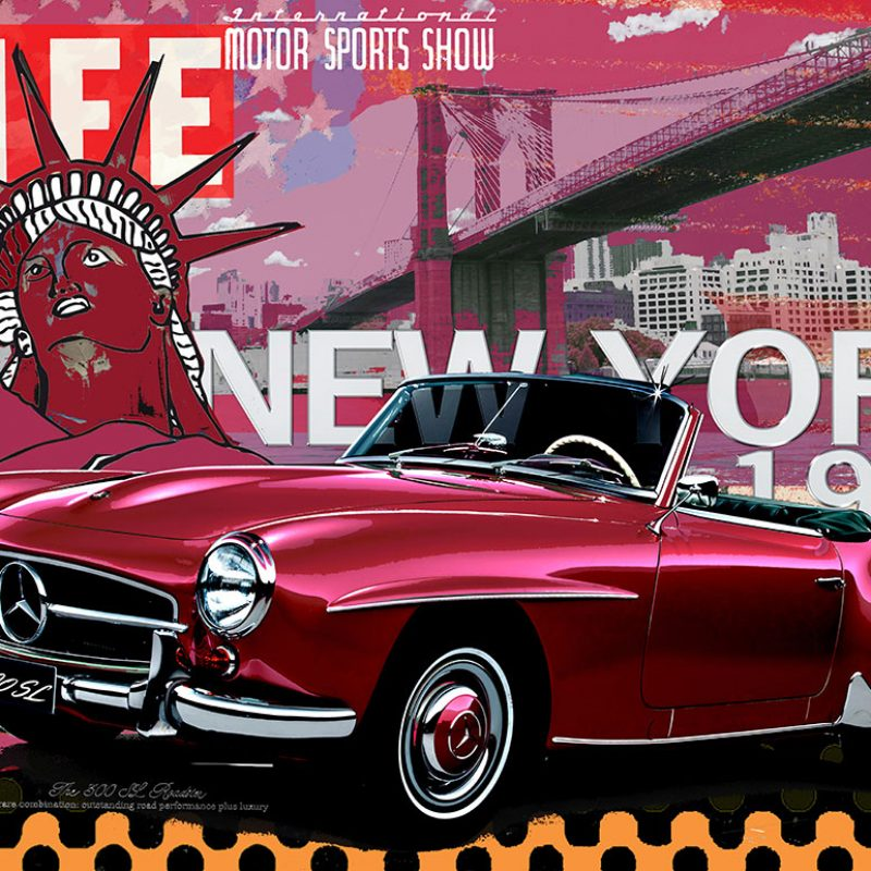 burkhard lohren – dream cars – mb 190 sl new york 1954 – 100 x 140 cm – 2016