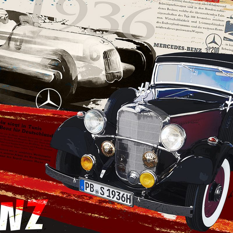 burkhard lohren – dream cars – mb 200 w21 lang 1936 – 70 x 100 cm – 2018
