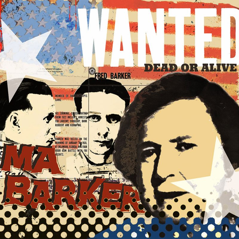 burkhard lohren – wanted – ma and fred barker vol. 2 – 100 x 100 cm – 2014