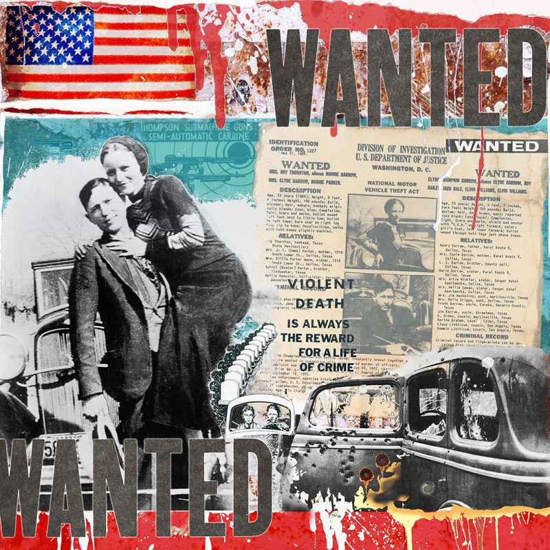 burkhard lohren – wanted – wanted bonnie and clyde vol. I – 100 x 100 cm – 2011