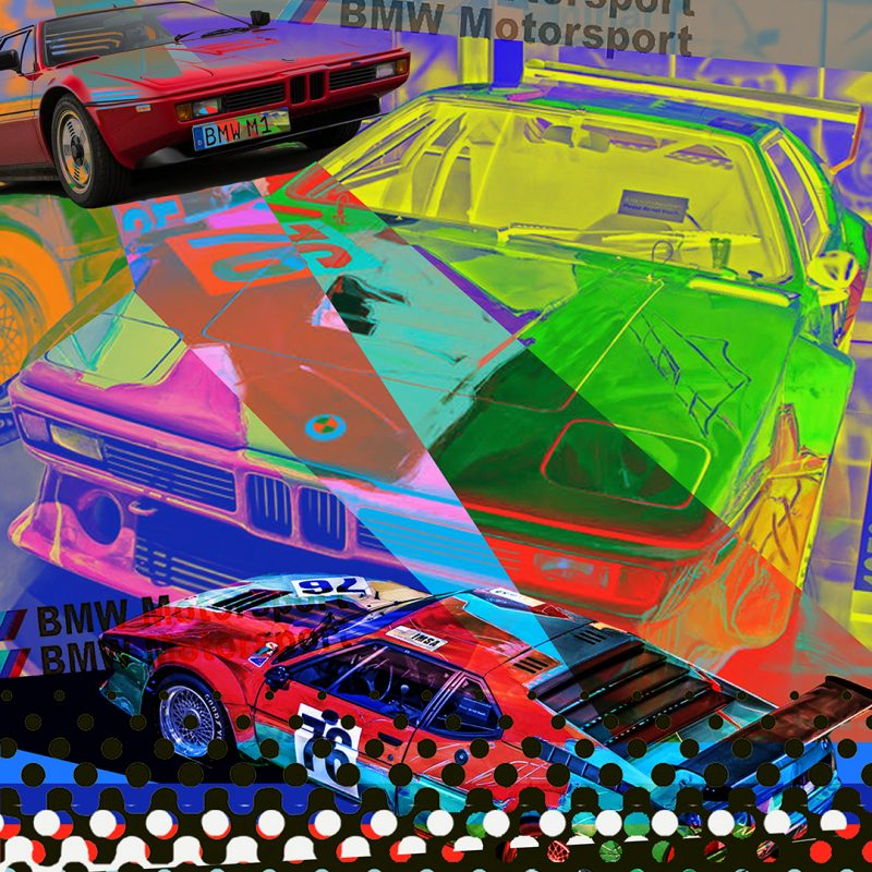burkhard lohren – dream cars – bmw m1 popart – 100 x 100 cm – 2018